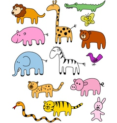 Animal doodle collection vector