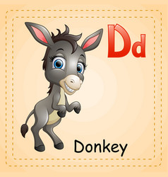 animals alphabet d is for donkey vector image