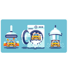 automatic line cleaning and washing car vector image