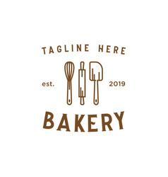 bakery line vintage logo design inspiration vector image