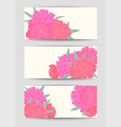 Beautiful set horizontal banners with flowers vector