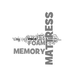 Benefits of a memory foam mattress text word vector