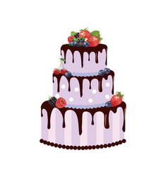 big birthday cake with forest fruits vector image
