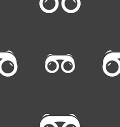 binoculars icon sign Seamless pattern on a gray vector image