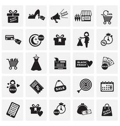 Black friday shopping set on squares background vector