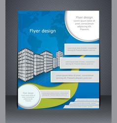 Blue business flyer or brochure design template vector