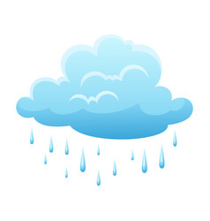 blue clouds and raindrops on white background vector image