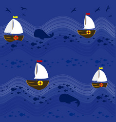Boats in the sea pattern background 2 vector