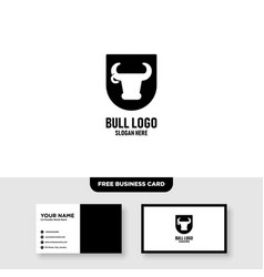 bull logo template free business card mockup vector image