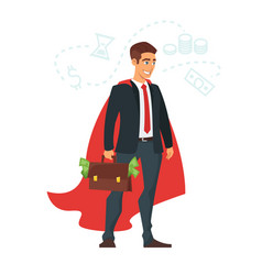 businessman in red cloak vector image