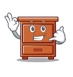 Call me wooden drawer mascot cartoon vector