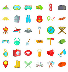 Camping icons set cartoon style vector