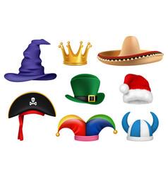 Carnival hats masquerade clothes fabric funny vector