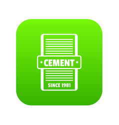 Cement icon green vector