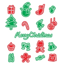 Christmas Outline Icons Set Color vector