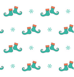 Christmas seamless pattern with elf boots vector