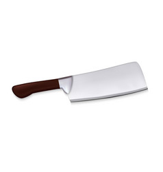 cleaver large meat knife with wooden handle vector image