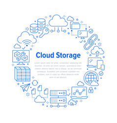 cloud data storage circle poster with line icons vector image