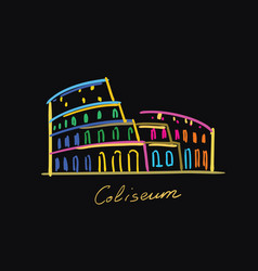 coliseum postcard color vector image