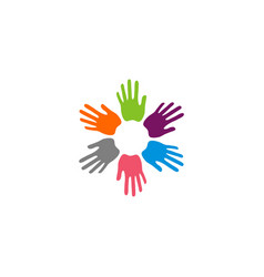 Colorful hands unity logo template design eps 10 vector