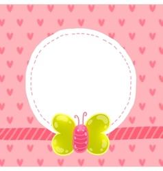 Cute cartoon butterfly card with frame vector
