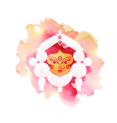 Durga pooja festival card in watercolor style vector