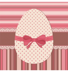Easter greeting card with dotted egg vector image