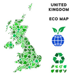 Eco green mosaic united kingdom map vector