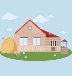 farm facade flat style vector image