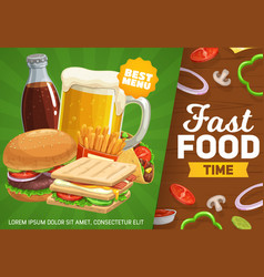 fast food poster combo meals and drinks vector image