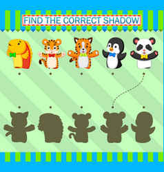 Find correct shadow different kind animal vector