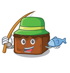 Fishing brownies mascot cartoon style vector