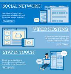 flat social communication girl at laptop vector image