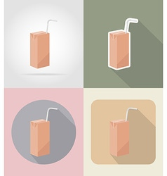 Food objects flat icons 10 vector