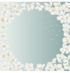 frame spring blue background with blossoms vector image