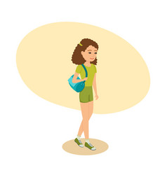 Girl with bag on her shoulder goes to training vector