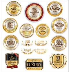 golden shields laurel wreaths and badges vector image
