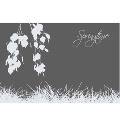 Grass with birch branches vector image