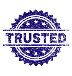 Grunge textured trusted stamp seal vector
