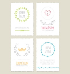 Hand drawn vintage cards collection vector