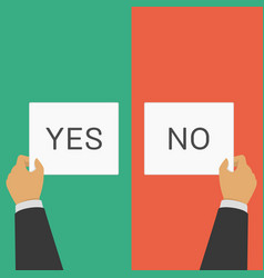 hands pointing vote yes or no sign vector image