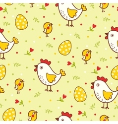 Happy Easter pattern with chicks and eggs vector