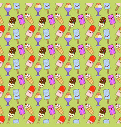 Ice cream cones pattern seamless color of vector