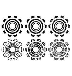 icon gearwheel set vector image