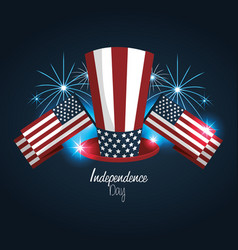 Independence day with hat and flags design vector