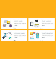 internet banner set security project vector image