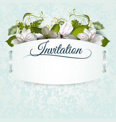 invitation template with flowers vector image