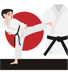 karate athletic sport cartoon set vector image