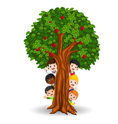 Kids playing in an apple tree vector