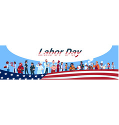 labor day people group different occupation set vector image